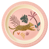 Melamine Kids Lunch Plate with Pink Jungle Animals Print