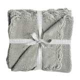 Knit Mini Moss Stitch Grey Blanket 100% Cotton 100cm x 100cm