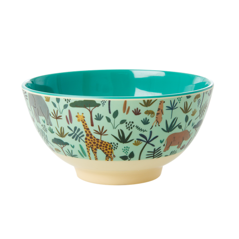 Melamine Bowl with All Over Jungle Animals Print - Two Tone - Green - Mediu