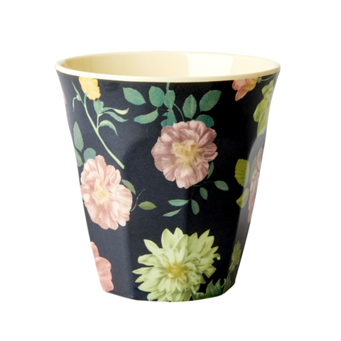 Melamine Cup with Dark Rose Print - Medium