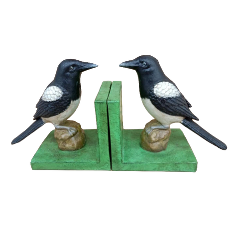 Cast Iron Magpie Bookends