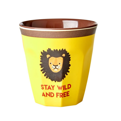 Medium Melamine Cup Two Tone with Lion Print
