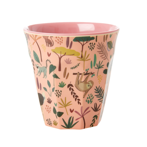 Melamine Cup with All Over Jungle Animals Print - Two Tone - Coral - Mediu