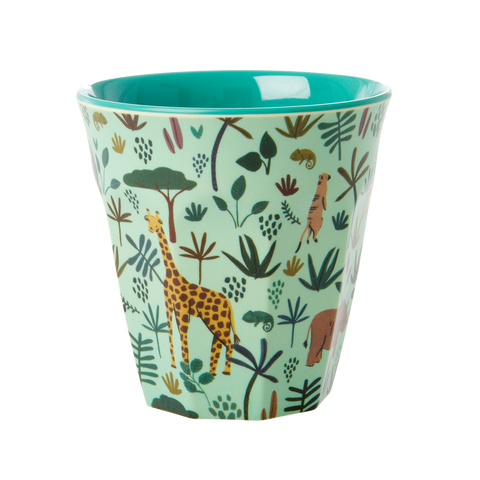 Melamine Cup with All Over Jungle Animals Print - Two Tone - Green - Mediu