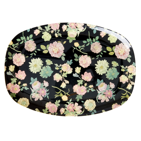 Melamine Rectangular Plate with Dark Rose Print