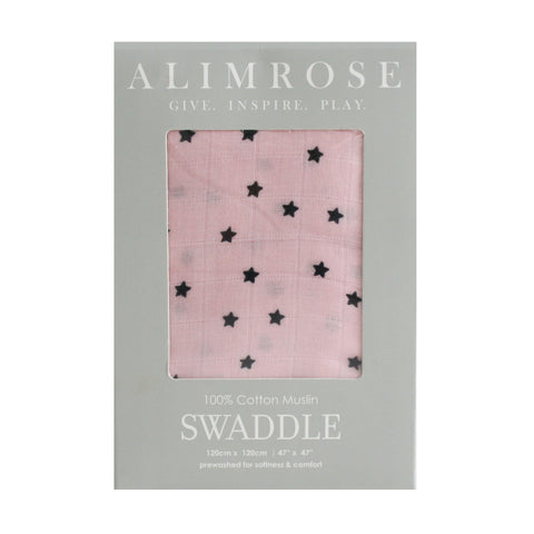 Muslin Swaddle Starry Night Pink