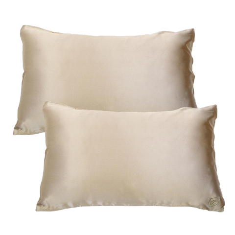 Set of Two Silk Pillowcases Shimmering Nude