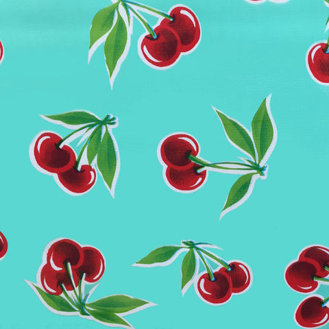 Cherries Mint Pale Green Oilcloth