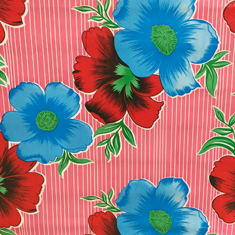 Big Flowers & Stripes Pink Oilcloth