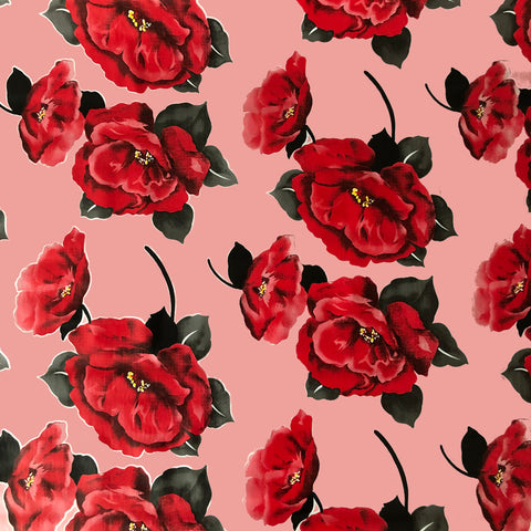 Red Flower Pink Oilcloth