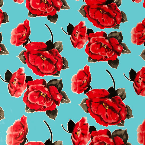 Red Flower Pale Blue Oilcloth