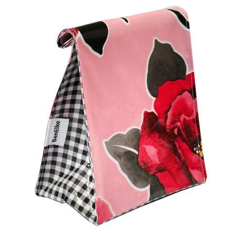 Oilcloth Lunchbag in Red Flower Pink