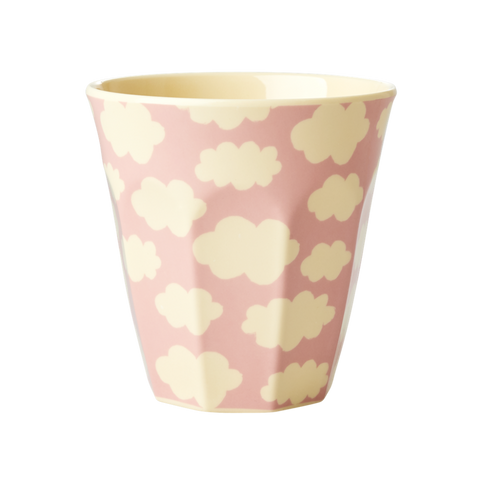 Medium Melamine Cup Two Tone with Cloud Print Pink