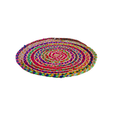 Extra Small Jute Braided Round Multi Bright Rug