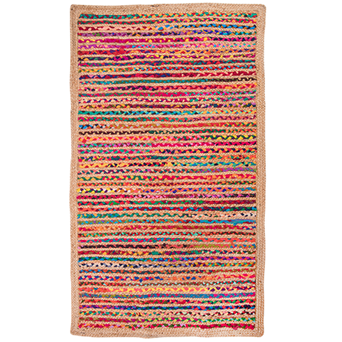 Hand Braided Jute Rug - Multi - Rectangle 90 x 150cm