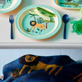 Melamine Kids Lunch Plate with Blue Jungle Animals Print