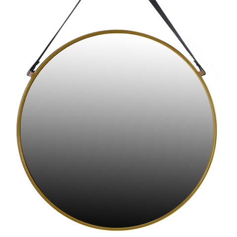 Oliver Brass Mirror with Leather Strap