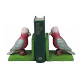 Cast Iron Galah Bookends Green Base