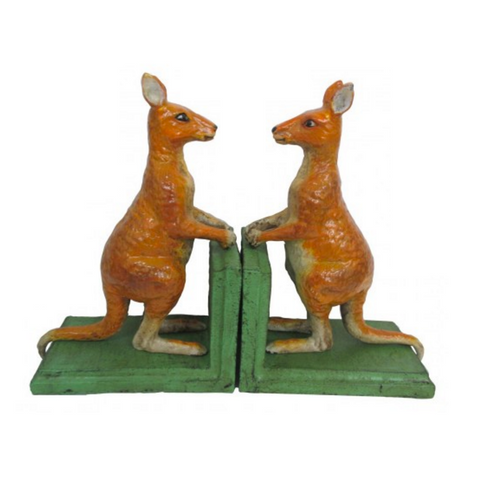 Cast Iron Kangaroo Red Bookends