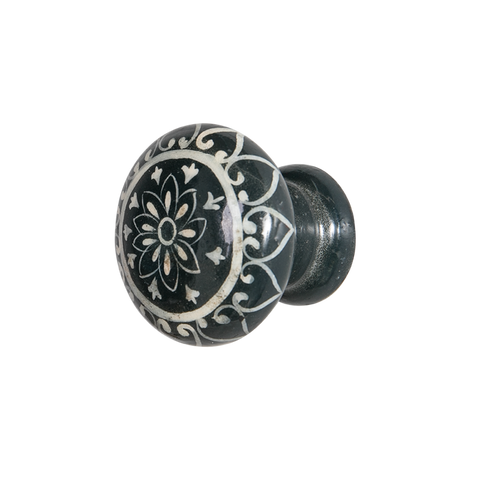Black Hand Painted Wood Knob Daisy