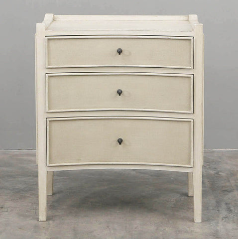 Charles Three Drawer Bedside Table in Vintage Cream