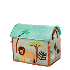 Small Raffia Storage Baskets - Jungle  Animals Green