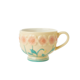 Ceramic Mug with Embossed Creme Flower Design