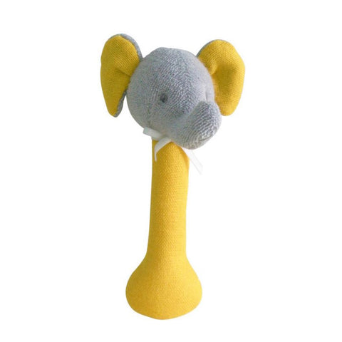 Elephant Stick Rattle Butterscotch Linen