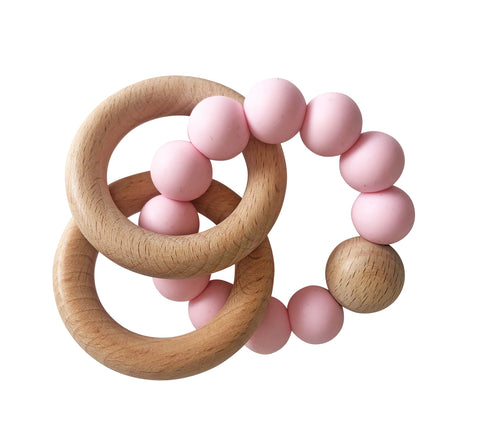 Alimrose Beechwood Teether Ring Set - Rosewater