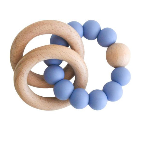 Alimrose Beechwood Teether Ring Set - Blue