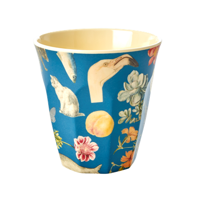 Melamine Cup with Blue Art Print - Two Tone - Medium