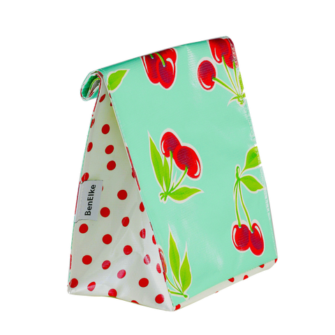 Oilcloth Lunchbag in Mint Cherries