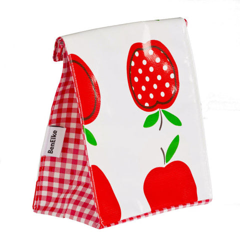 Oilcloth Lunchbag in Spotty Apples Red