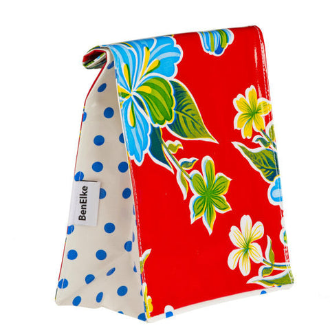 Oilcloth Lunchbag in Red Hibiscus