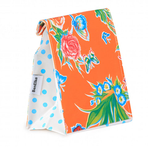 Oilcloth Lunchbag in Orange Butterfly
