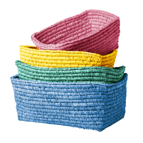 Rectangle Bread Baskets in - pink, yellow, green or blue