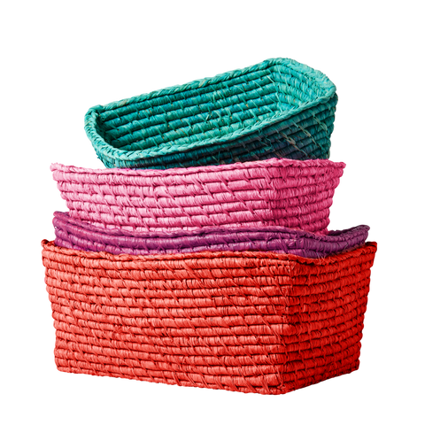 Rectangle Bread Baskets in - red, purple, pink or green