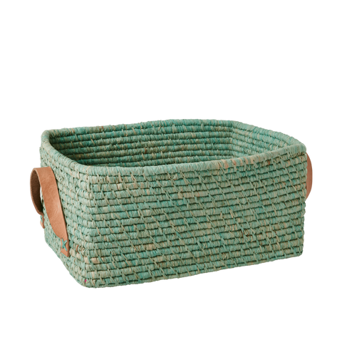 Rectangular Raffia Basket with Leather Handles in Mint