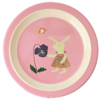 Melamine Kids Lunch Plate with Pink Bunny Print