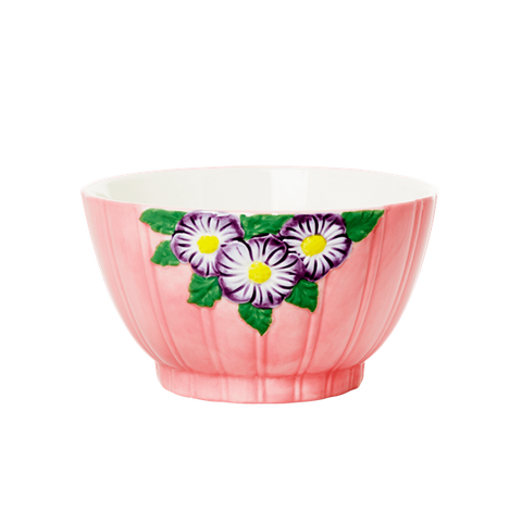 Ceramic Bowl with Embossed Pink Flower Design