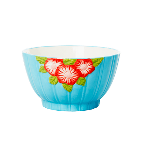Ceramic Bowl with Embossed Mint Flower Design