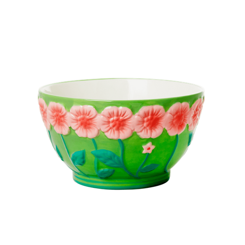 Ceramic Bowl with Embossed Green Flower Design
