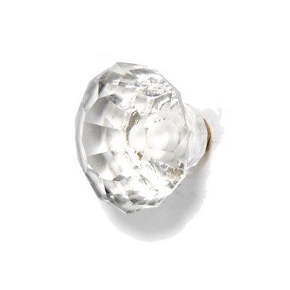Medium Faceted Glass Drawer Knob Clear