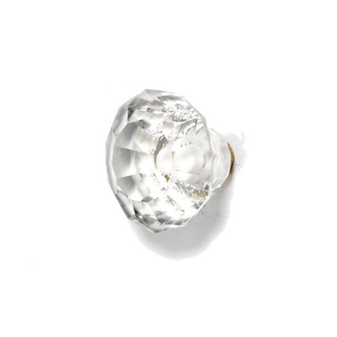 Small Faceted Glass Drawer Knob Clear