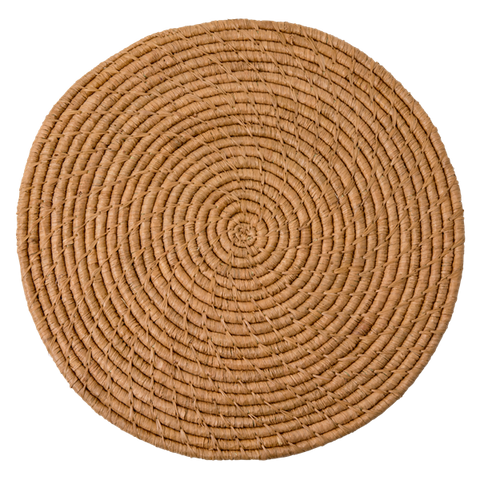 Raffia Round Handmade Placemat in Tea - Large