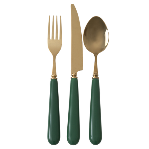 Cutlery in Brass Look with Ceramic Handle - Dark Green - Price is per Piece