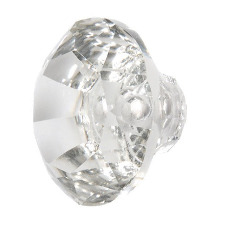 X-Large Faceted Glass Drawer Knob Clear