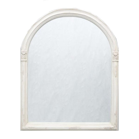 Washed Blanc Arch Mirror with Carving