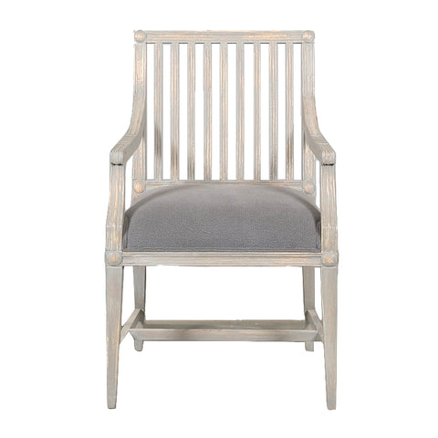 Vernon Armchair Washed Grey Upholstered in Dark Grey Cotton