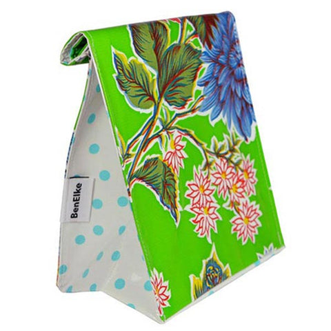Oilcloth Lunchbag in Green Mums